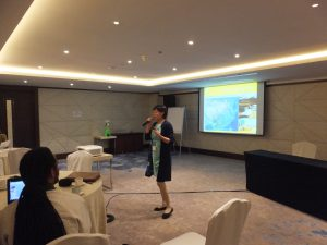 Ms. Liu expounds on the plans for SEPLS management in China. ©CI/Yoji Natori